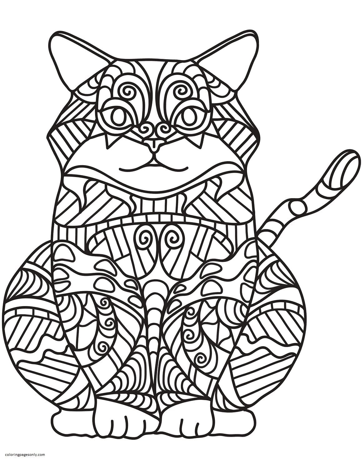 Sitting Cat Zentangle Coloring Page