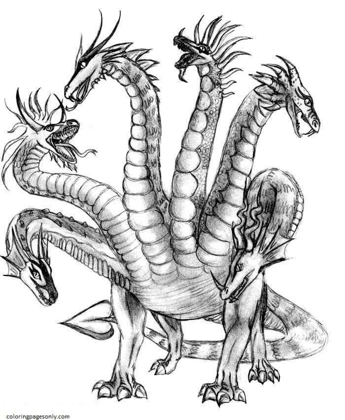 6 Headed Hydra Coloring Page