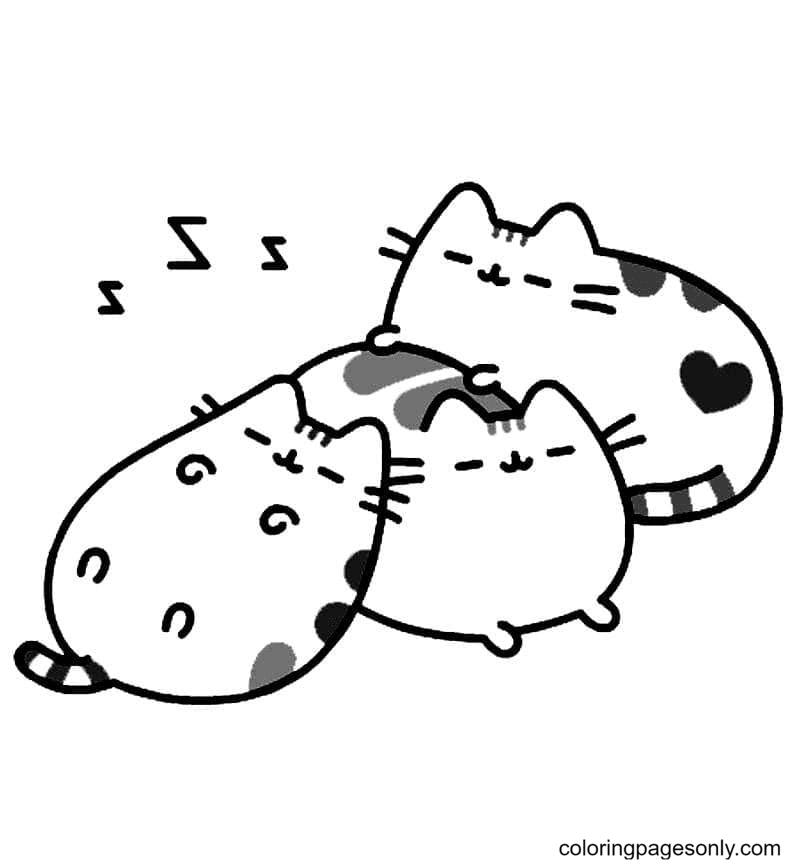 Sleeping Pusheen Cats Coloring Page