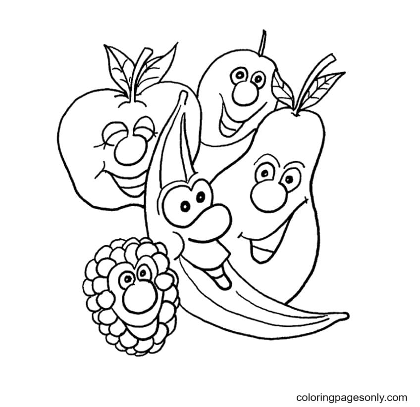 Smiled fruits Coloring Page