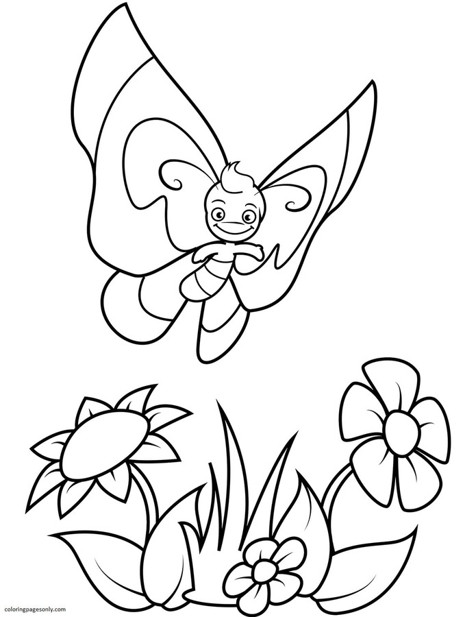 Smiling Butterfly Boy Flies over Flowers Coloring Page