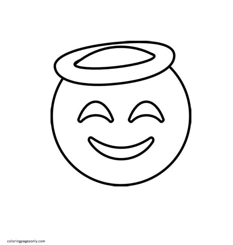 Smiling Face With Halo Coloring Page