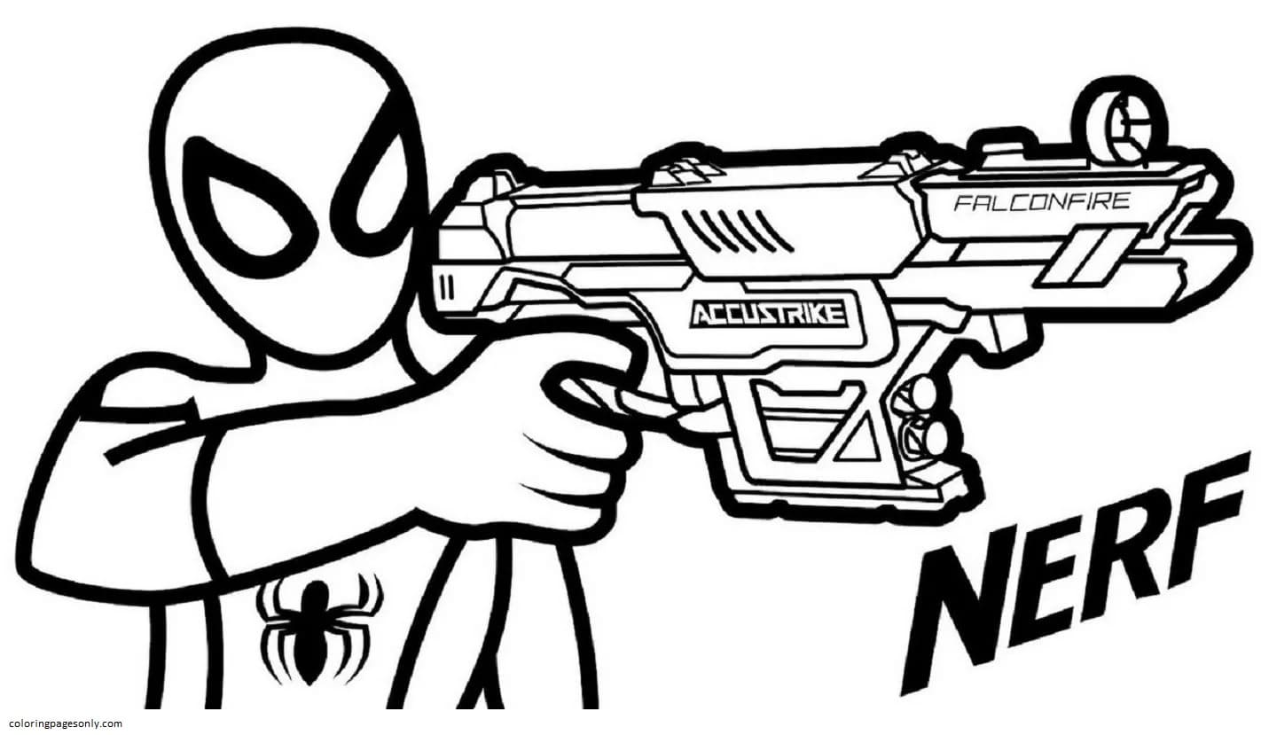 Spider Man with a powerful blaster Nerf Falconfire Coloring Page