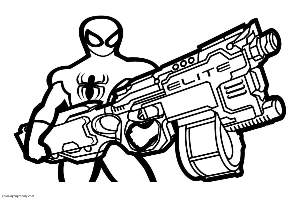 Spider with Elite Blaster Coloring Page