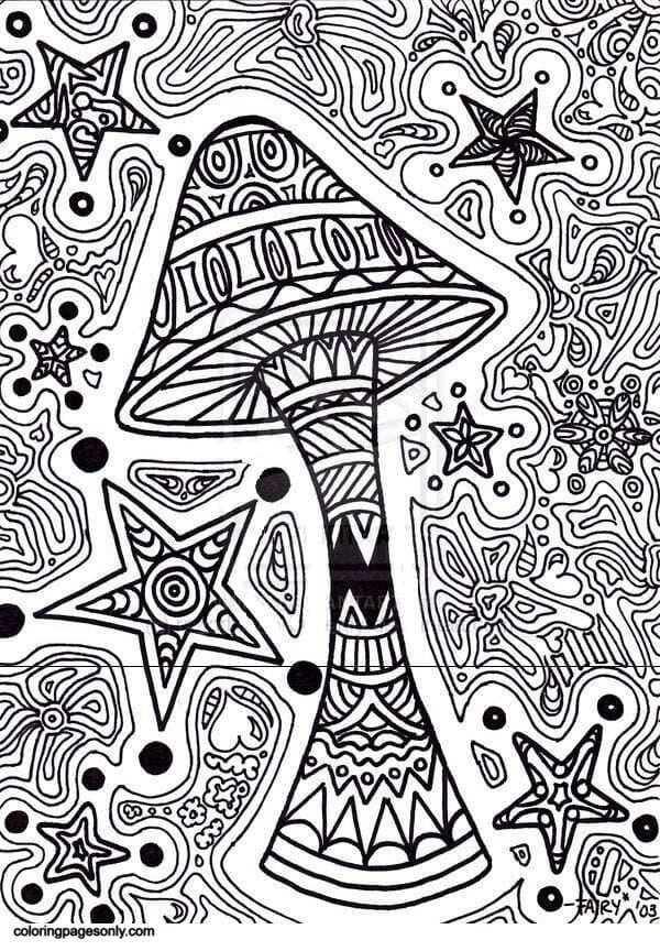 Star Mushroom Coloring Page