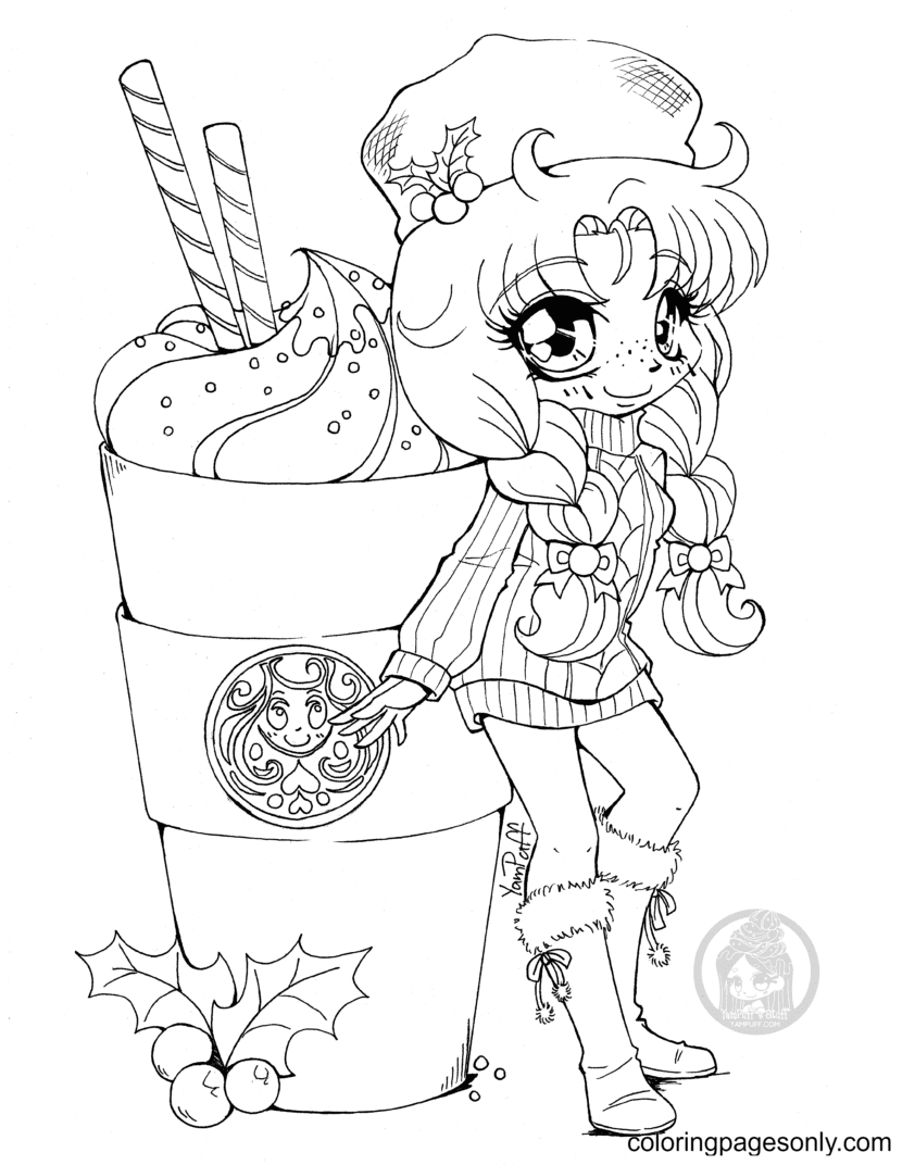 Starbucks Coffee And Beautyful Girl Coloring Page
