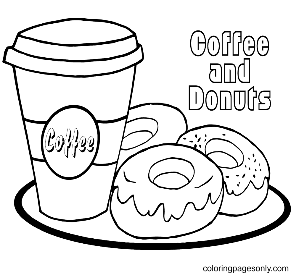 Starbucks Coffee And Donuts Coloring Page