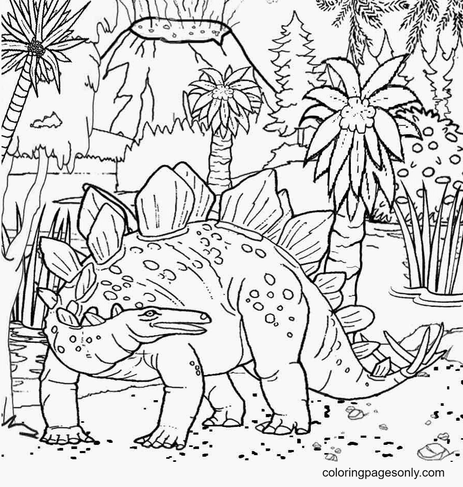 Stegosaurus In Jurassic World Coloring Page