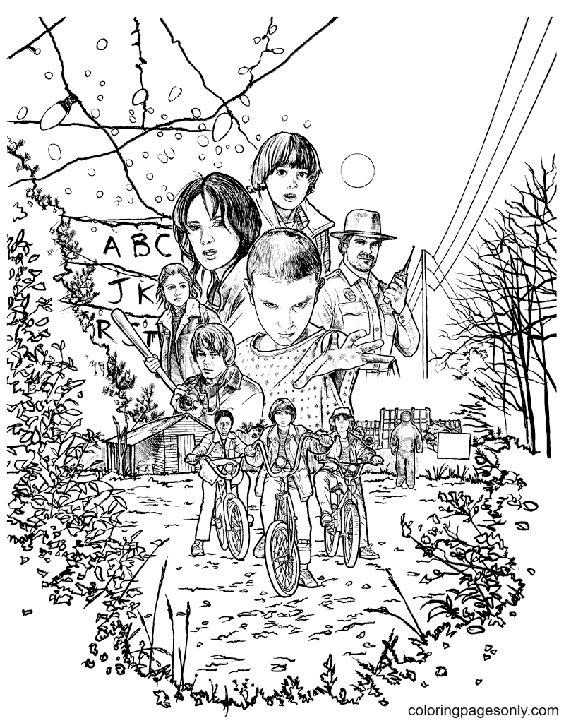 Stranger Things season 1 Coloring Page