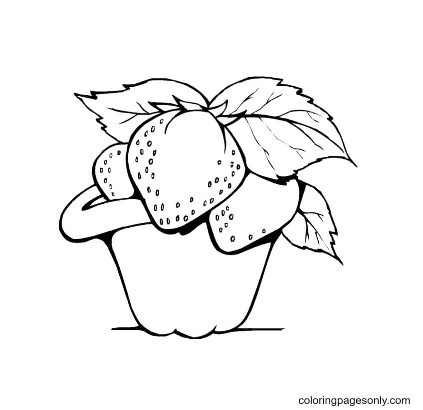 Strawberries Fruit Coloring Page