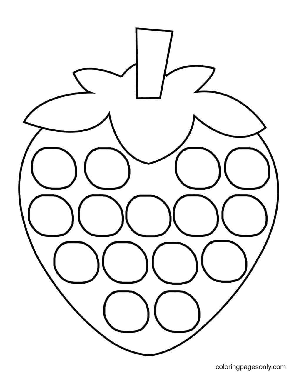 Strawberry Pop It Coloring Page