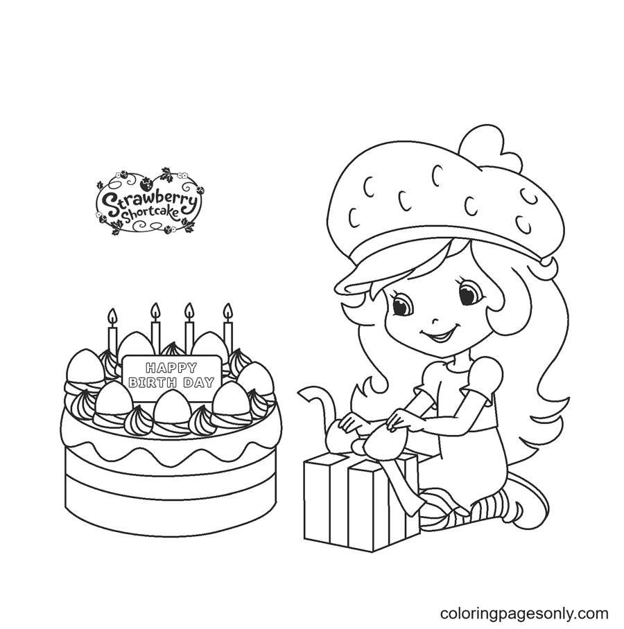Strawberry Shortcake Birthday Coloring Page