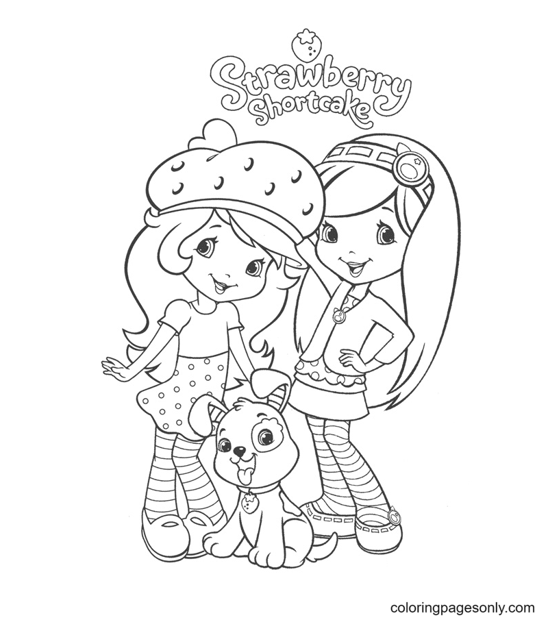 Strawberry Shortcake, Blueberry Muffin and Pupcake Coloring Page