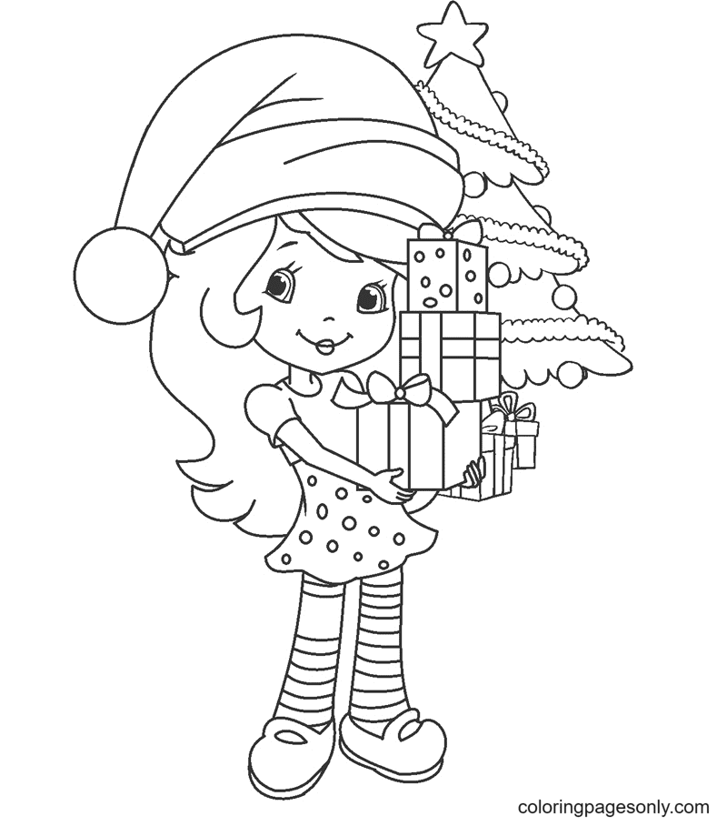Strawberry Shortcake Christmas Coloring Page