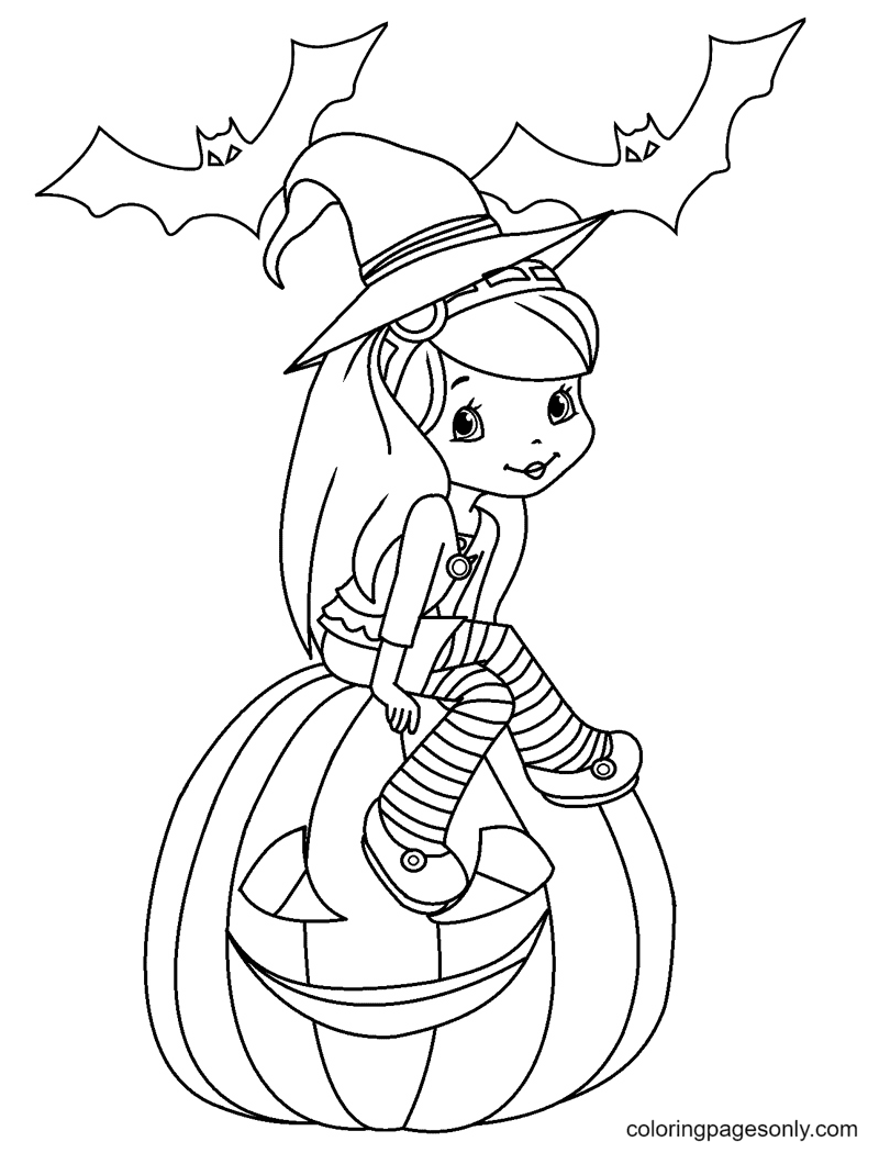 Strawberry Shortcake Halloween Coloring Page