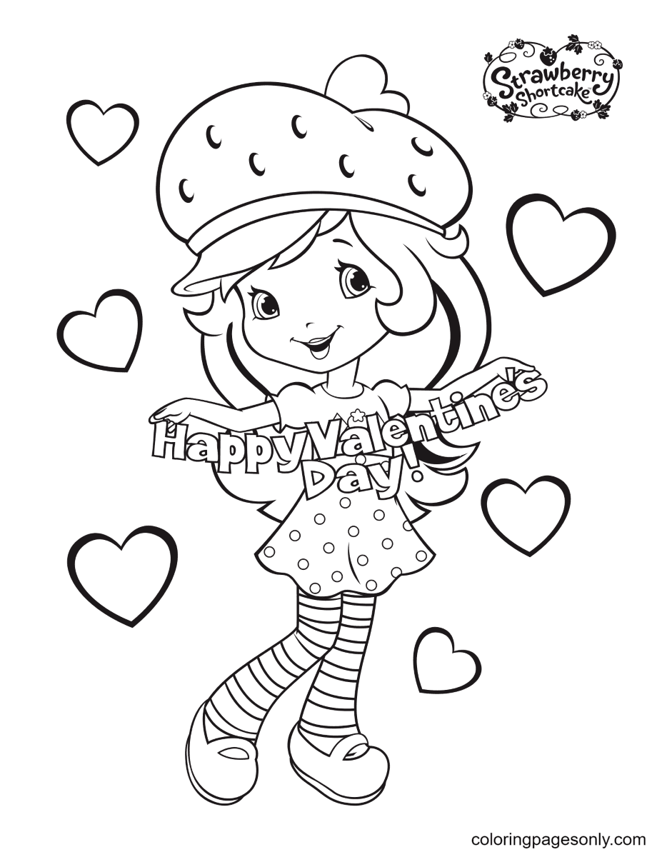 Strawberry Shortcake Happy Valentine day Coloring Page