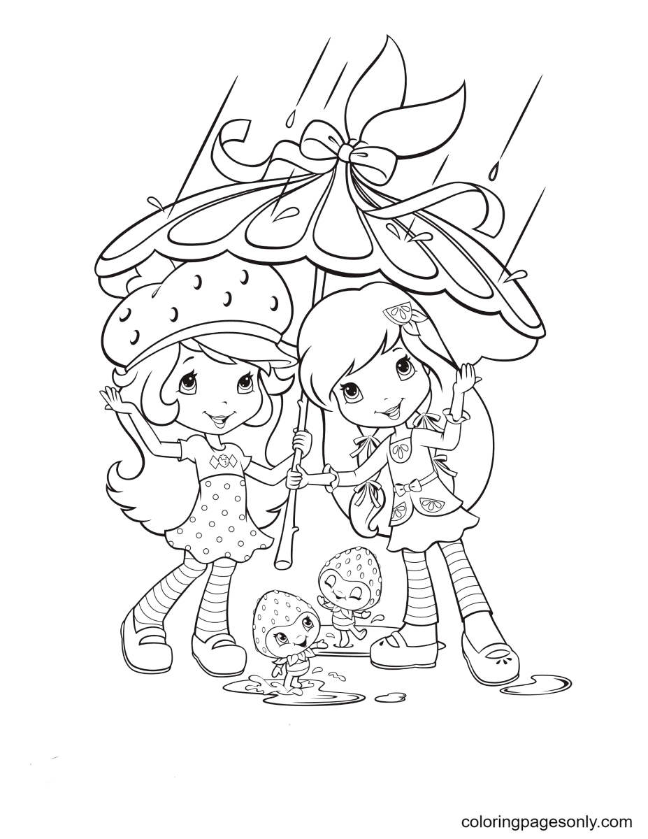 Strawberry Shortcake, Lemon Meringue and Berrykin in the Rain Coloring Page