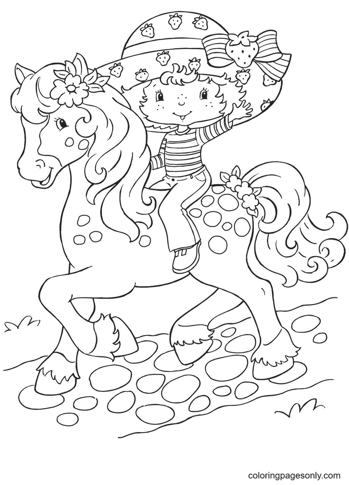 Strawberry Shortcake Rides a Horse Coloring Page
