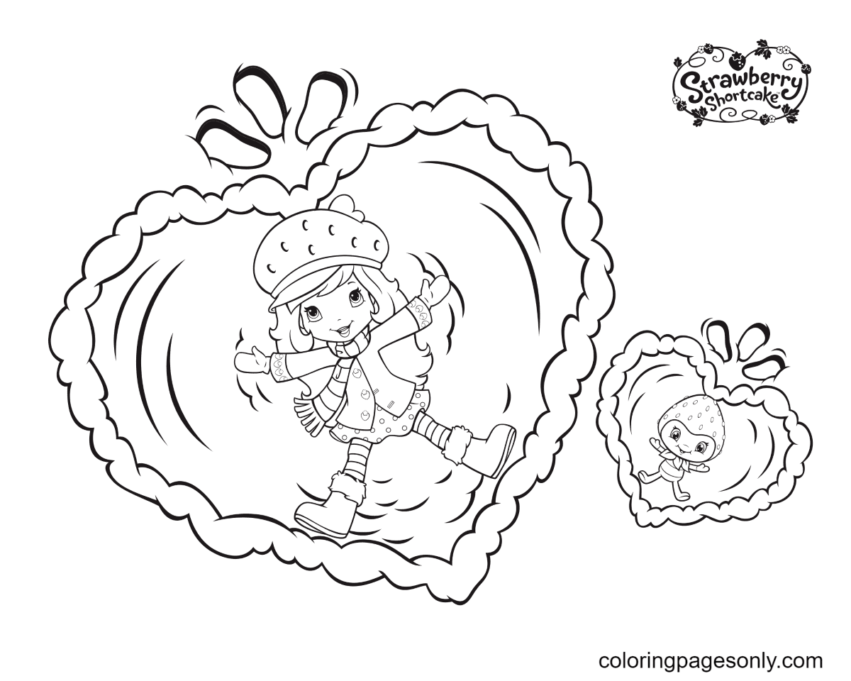 Strawberry Shortcake and Berrykin Coloring Page