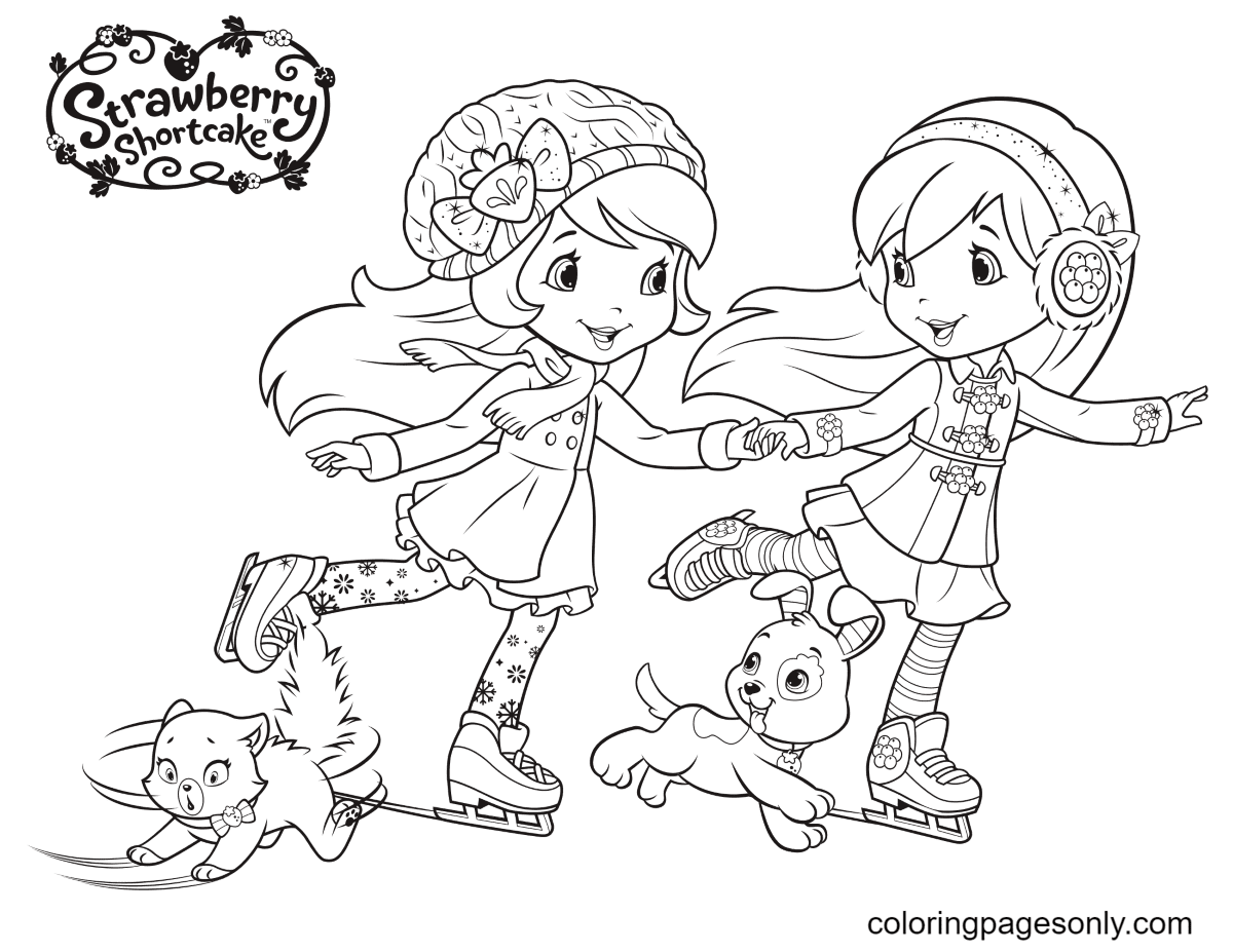 Strawberry Shortcake and Blueberry Muffin Ice Skating Coloring Page