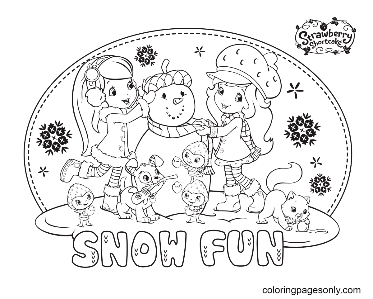 Strawberry Shortcake and Blueberry Muffin with Snowman Coloring Page