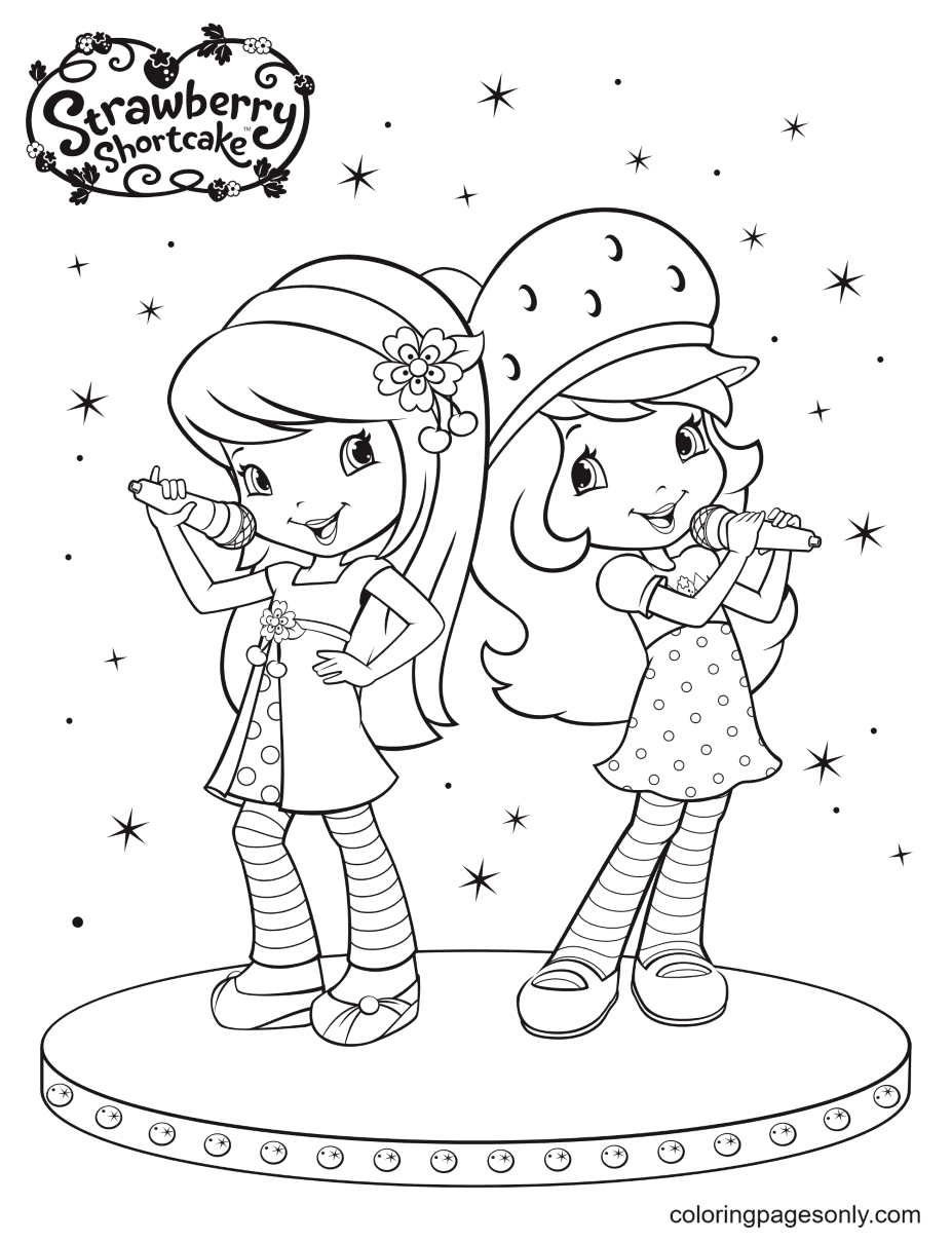 Strawberry Shortcake and Cherry Jam duet Coloring Page