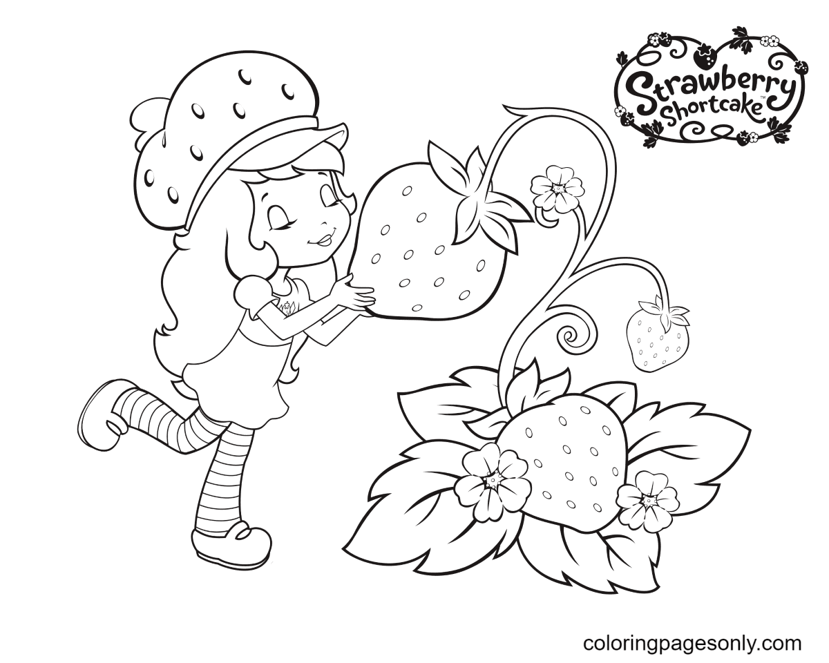 Strawberry Shortcake and Strawberries Coloring Page