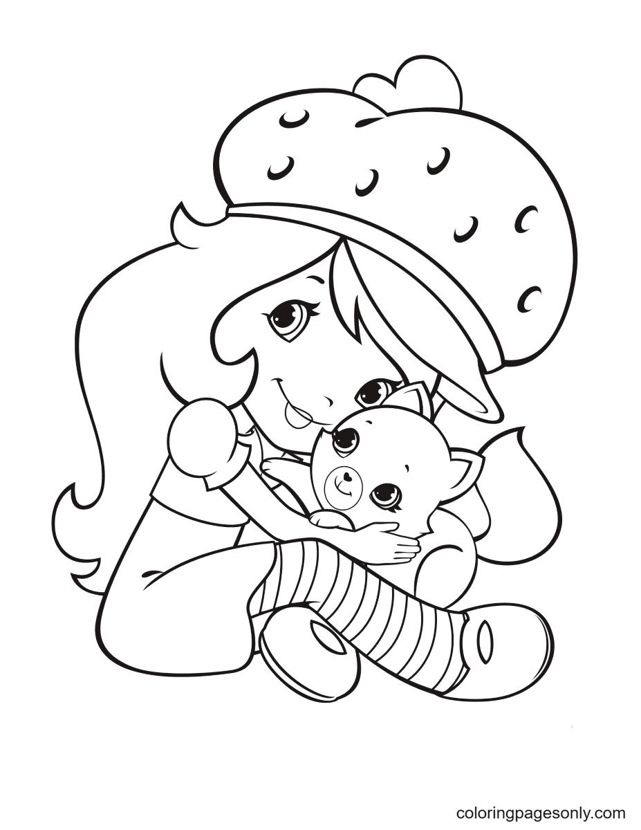 Strawberry Shortcake hugs Custard Coloring Page