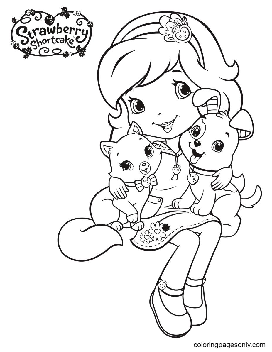 Strawberry Shortcake hugs Pupcake and Custard Coloring Page