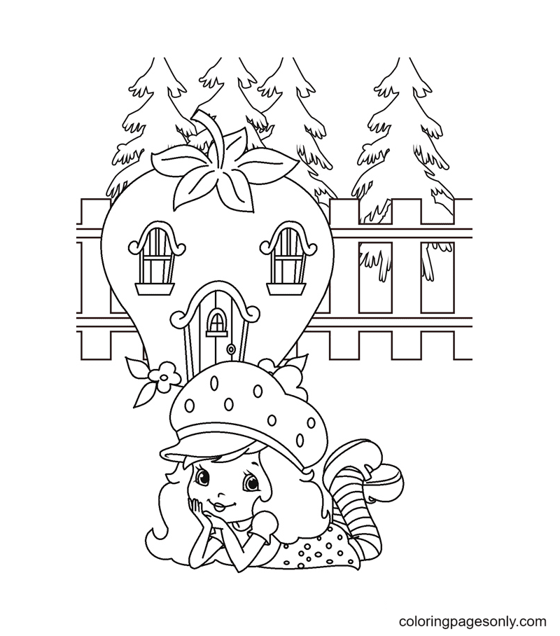 Strawberry Shortcake is in front of her house Coloring Page