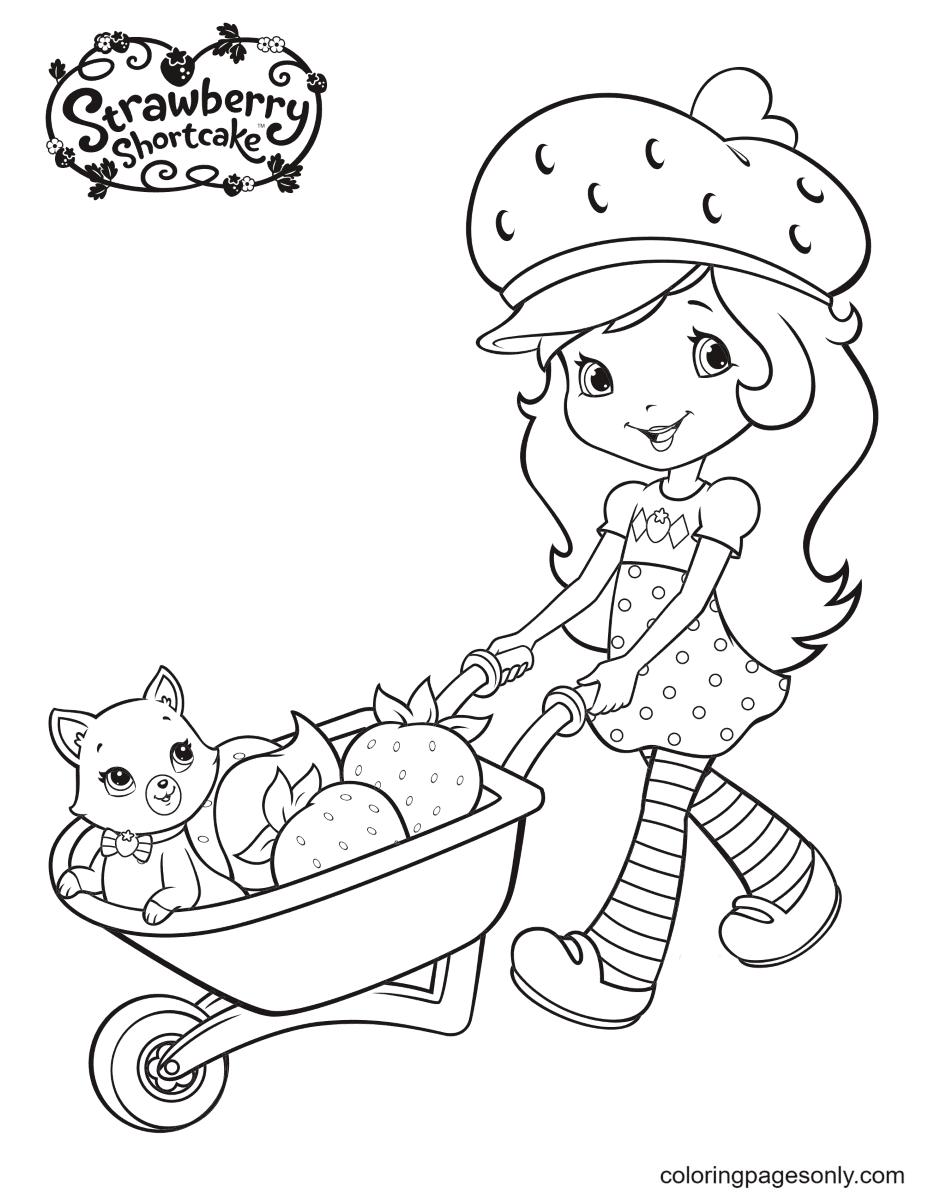 Strawberry Shortcake pushing fruit cart and Custard cat Coloring Page
