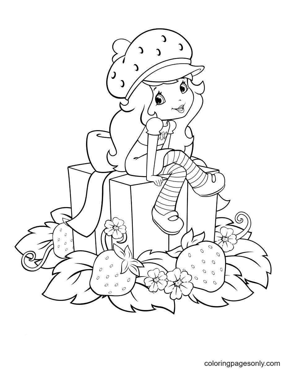 Strawberry Shortcake sitting on a gift box surrounded by strawberries Coloring Page