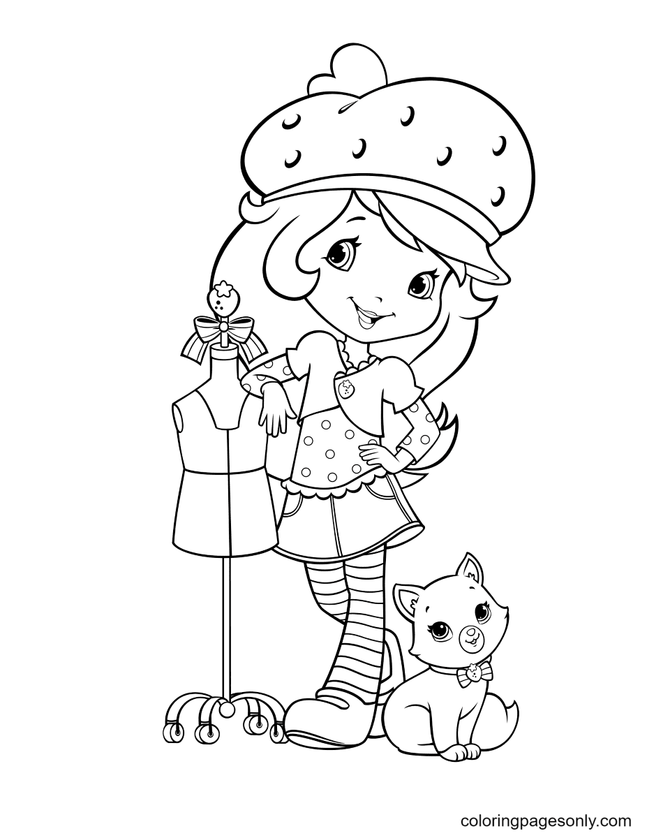 Strawberry Shortcake standing next to the cat Custard Coloring Page