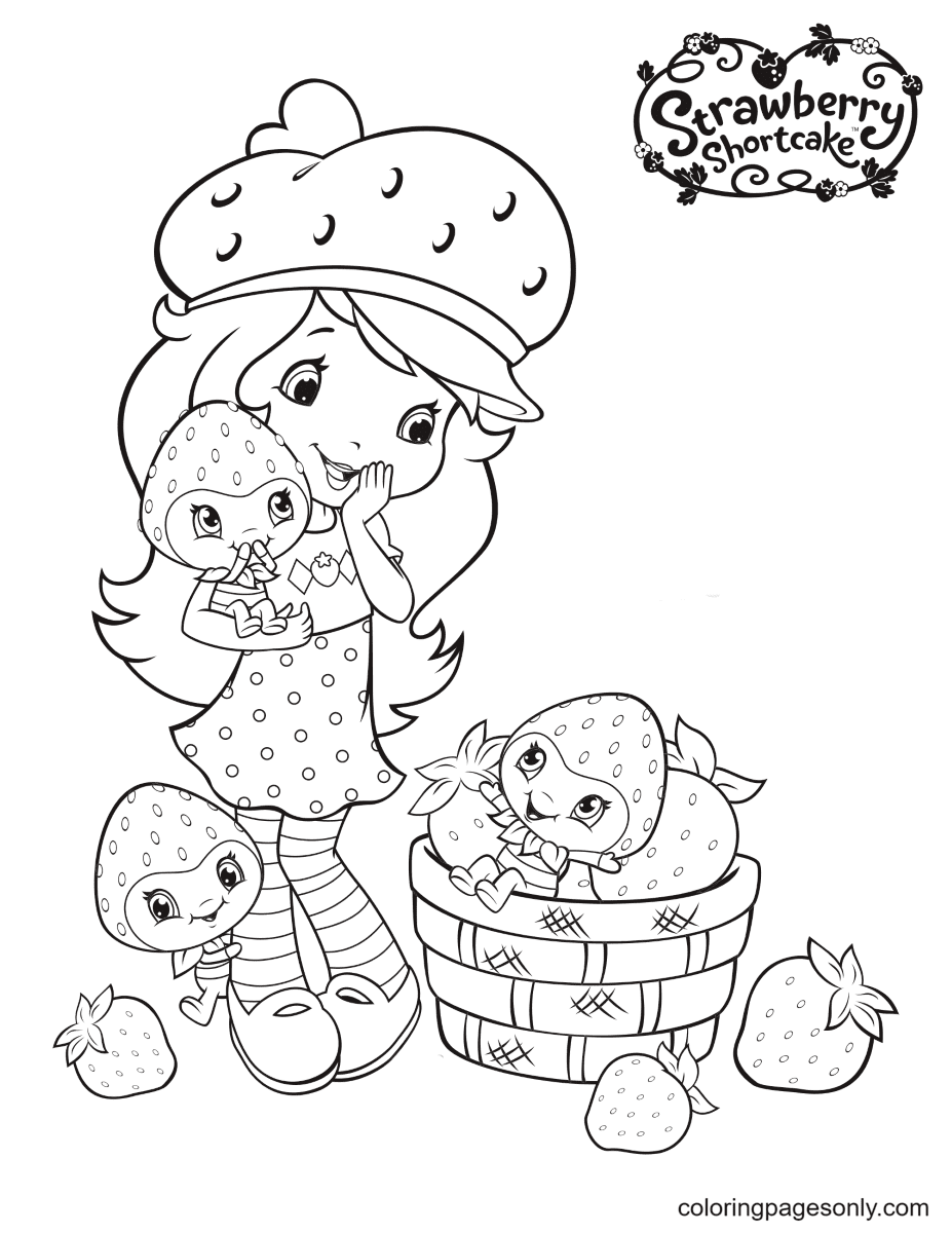 Strawberry Shortcake with Berrykin Coloring Page