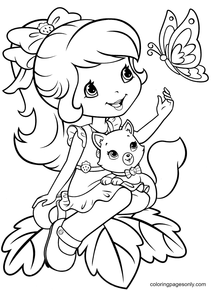 Strawberry Shortcake with Custard and Butterfly Coloring Page