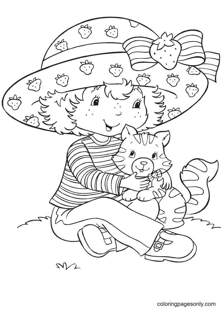 Strawberry Shortcake with Custard Coloring Page