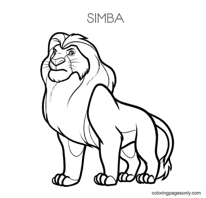 Strong Simba Coloring Page