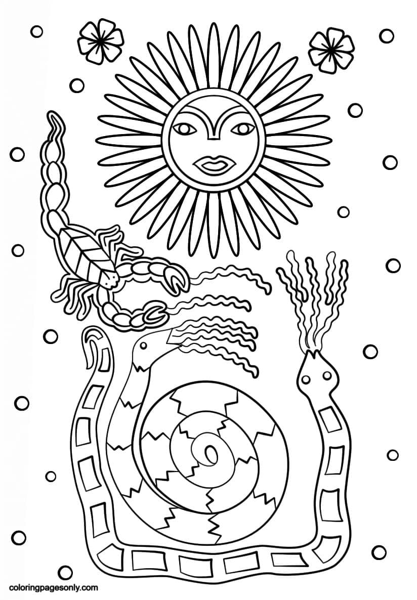Sun Scorpion and Snakes Coloring Page