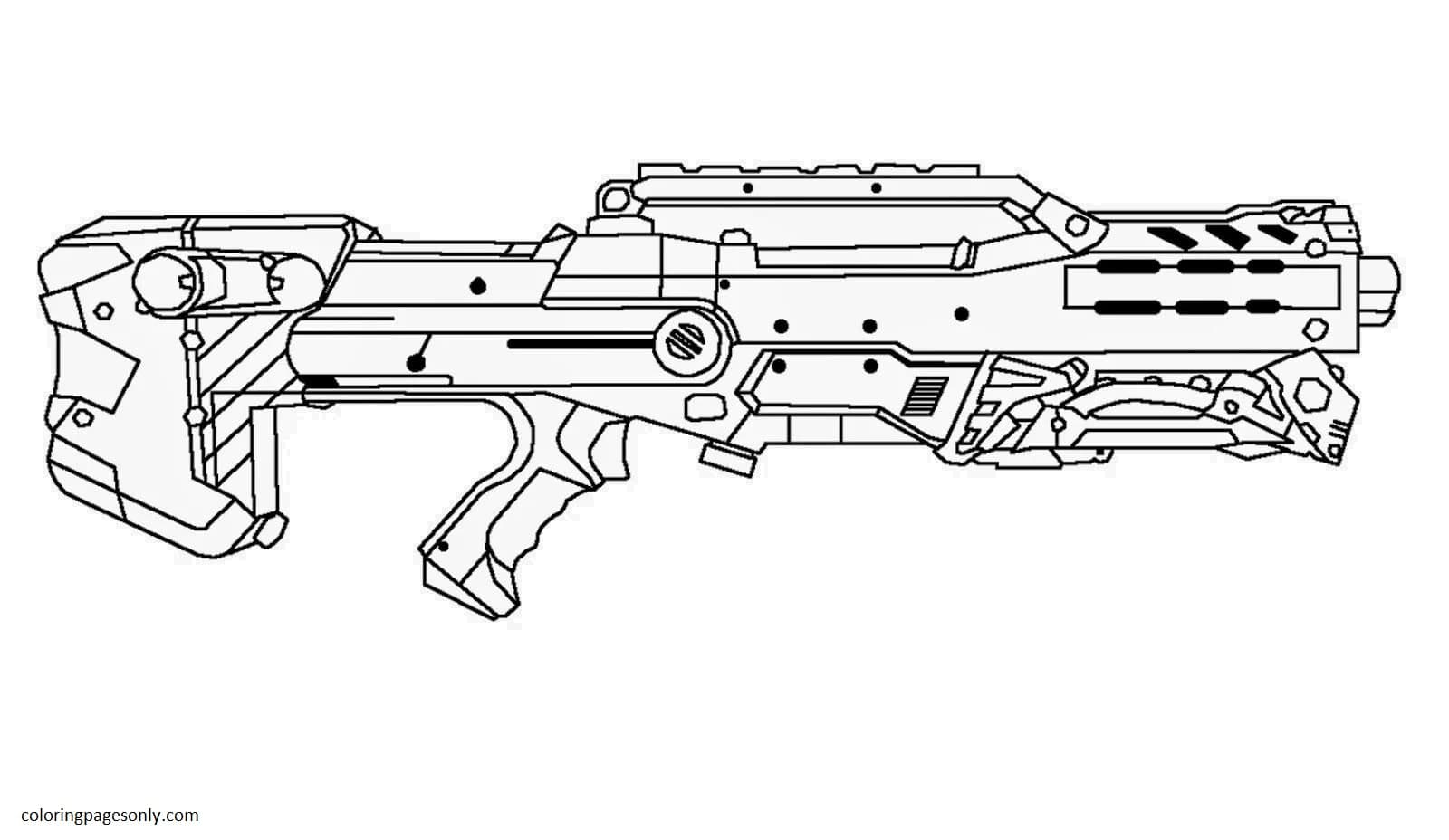 Super Accurate Nerf Weapons Coloring Page