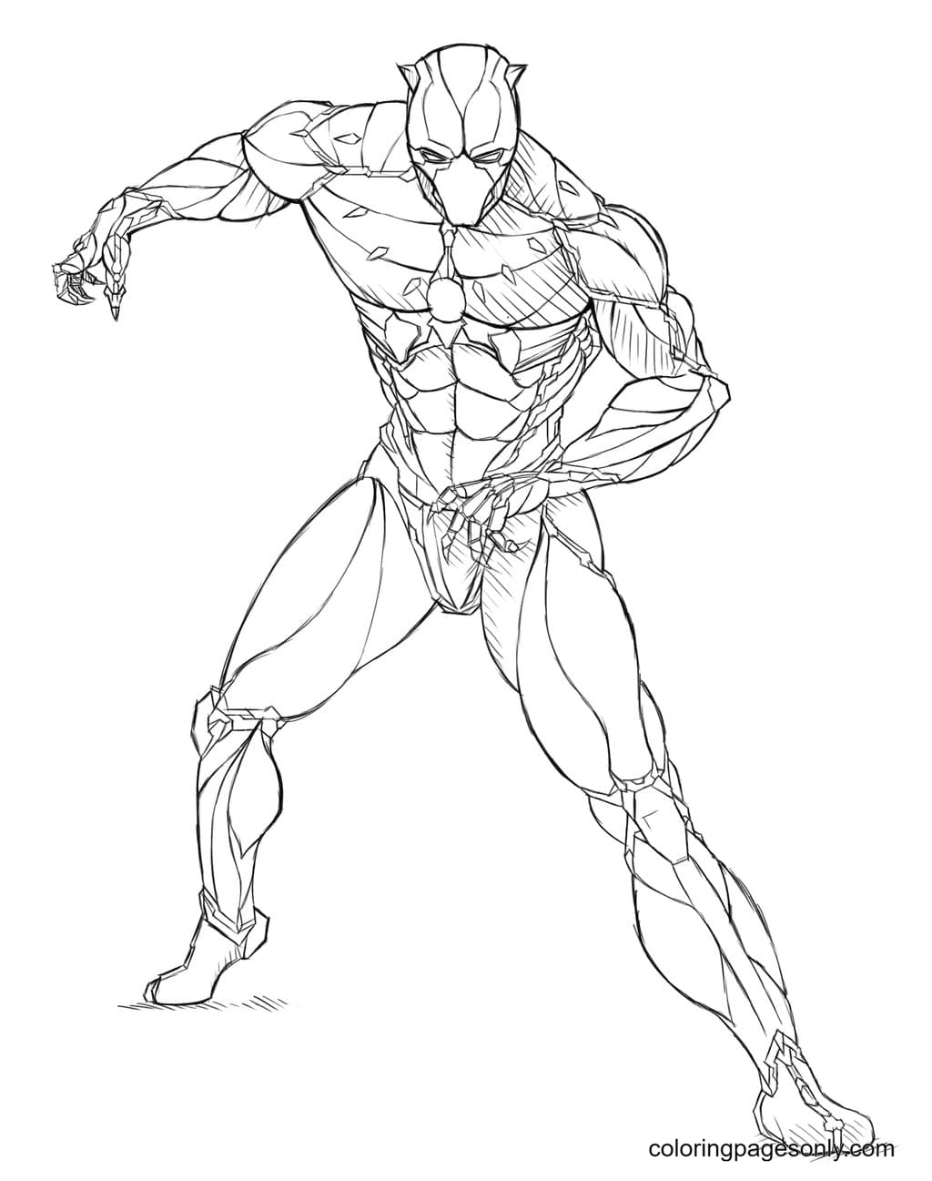T'Challa is ready to defend his people Coloring Page