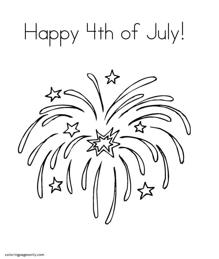 The Beautiful Fireworks Coloring Page