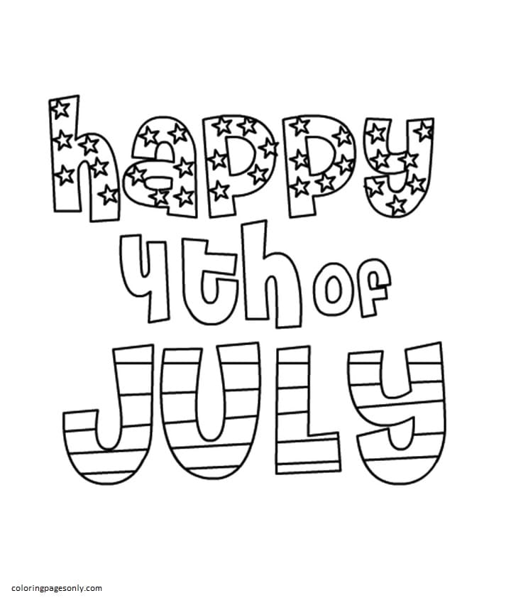 The Happy 4th of July Coloring Page