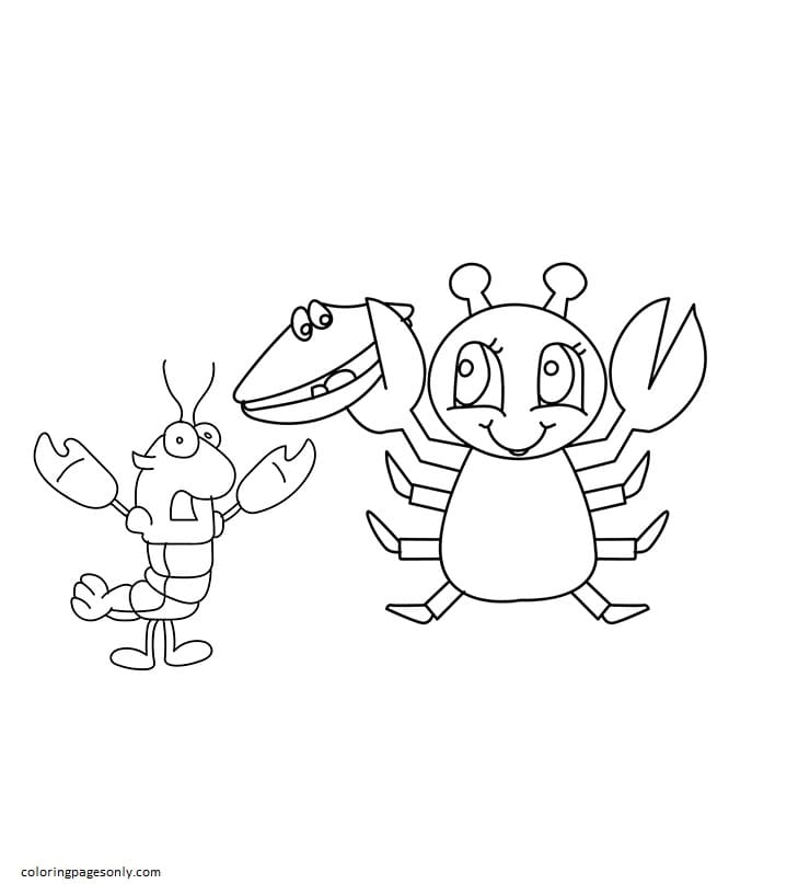The Happy Girl Crab Coloring Page