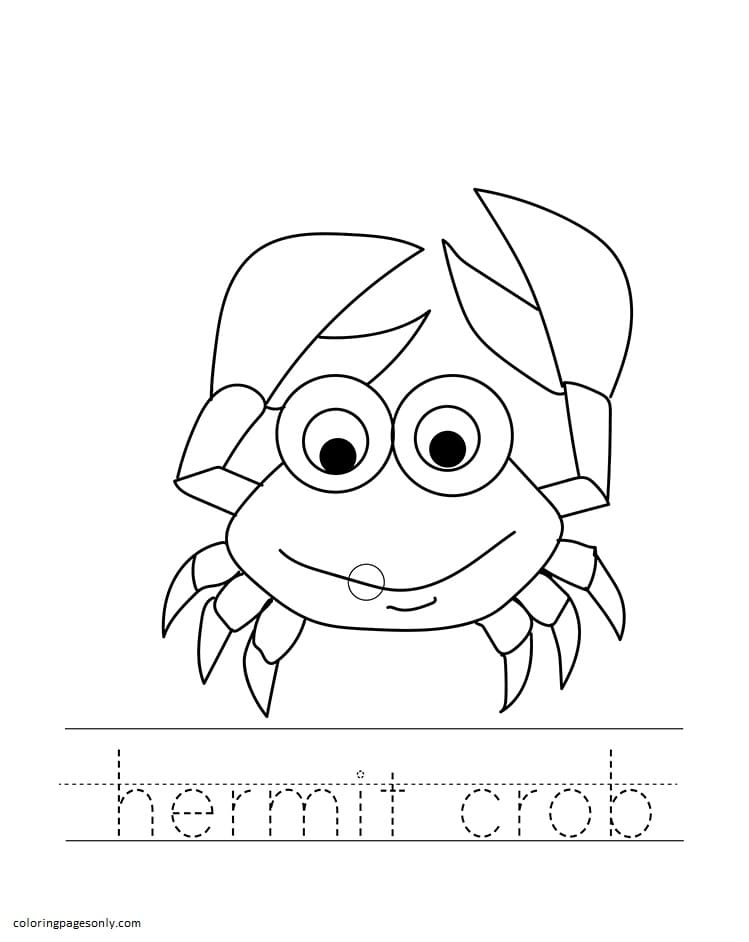 The Happy Hermit Crab Coloring Page