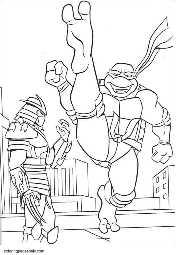 The Shredder and Ninja Turtle Coloring Page