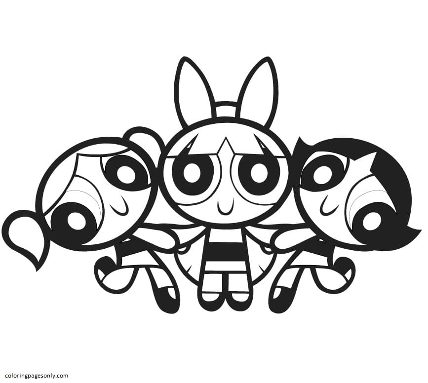The Three Powerpuff Girls 1 Coloring Page