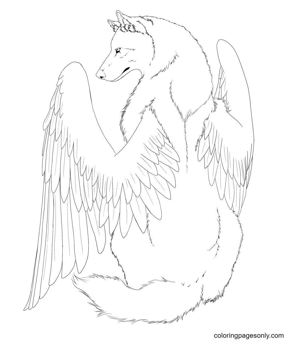 The Winged wolf is sitting Coloring Page
