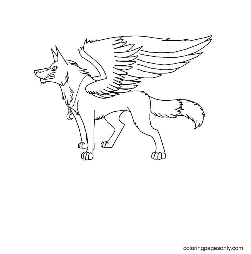 The ferocious winged wolf Coloring Page