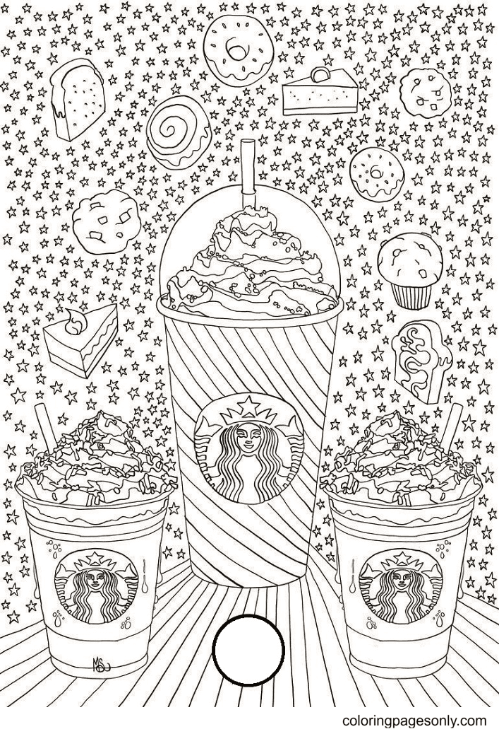 Three Starbucks Coffee Cup Coloring Page