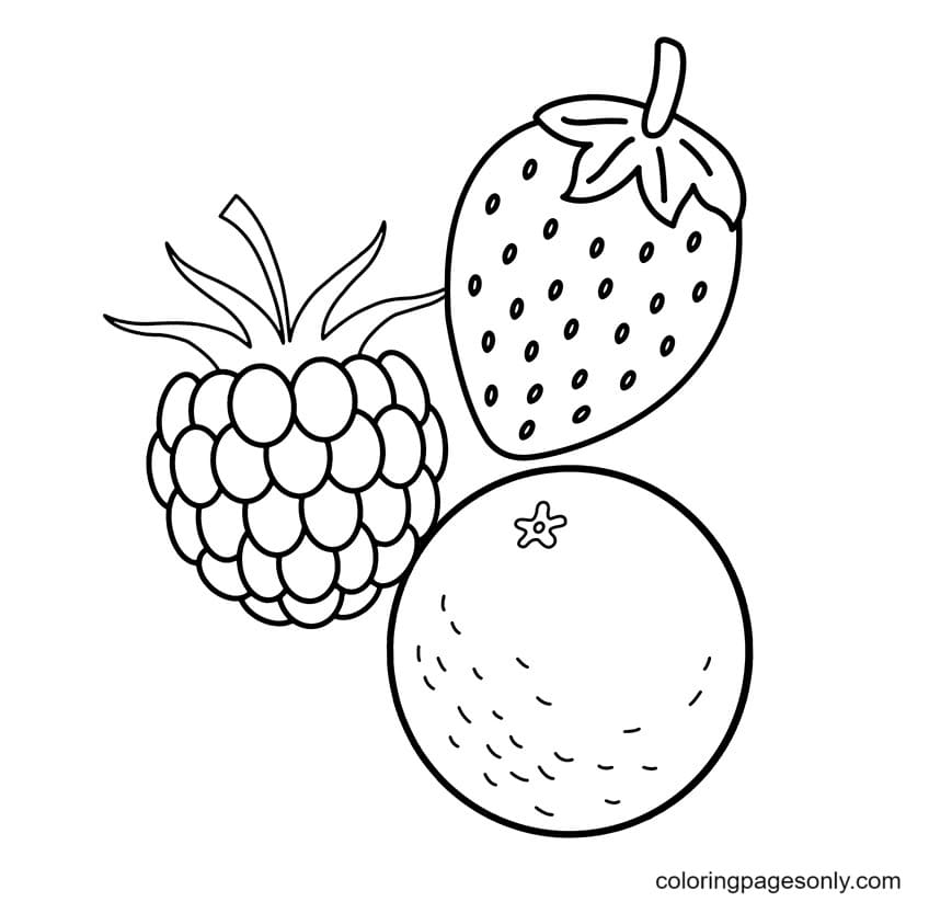 Three tasty fruits Coloring Page